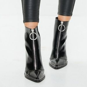 Missguided Shoes - Missguided zip front ring pull boots